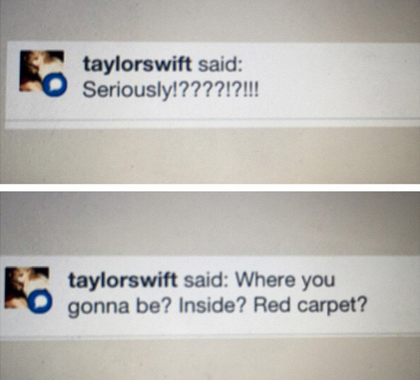 taylor finds fan at grammys