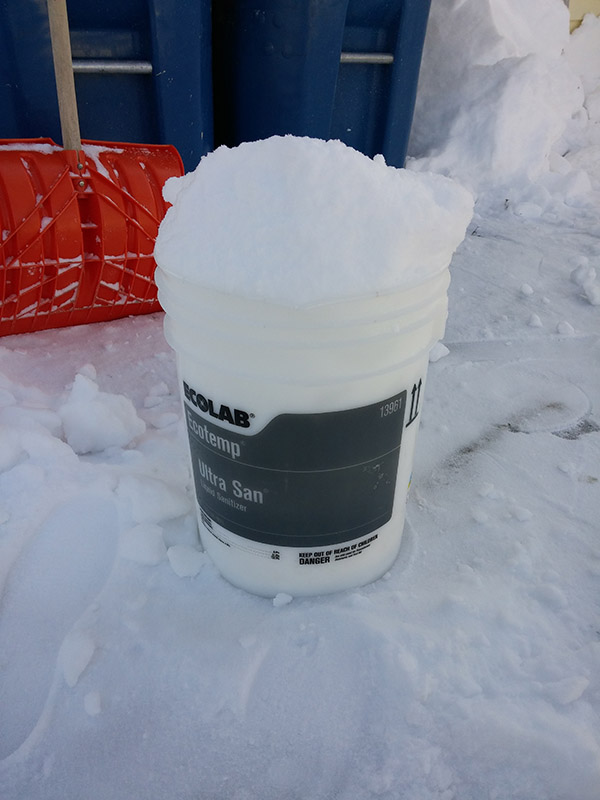 snow bucket prank