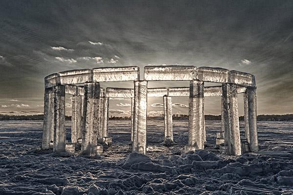 icehenge frozen on lake