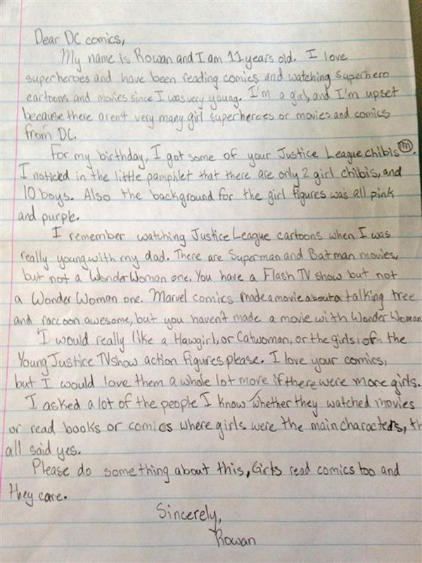 girl writes letter to dc comics