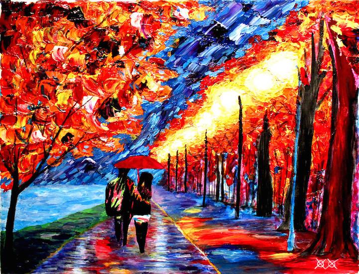blind artist colorful paintings