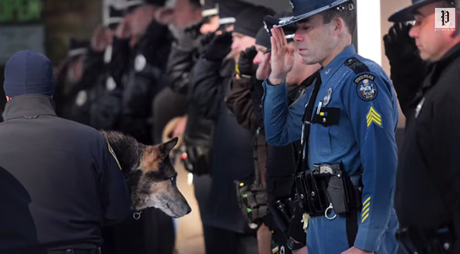 Maine officers salute dog