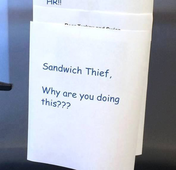 funny sandwich thief