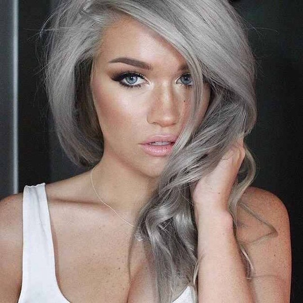 young girls dyeing hair grey