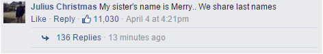 funny facebook comments about names