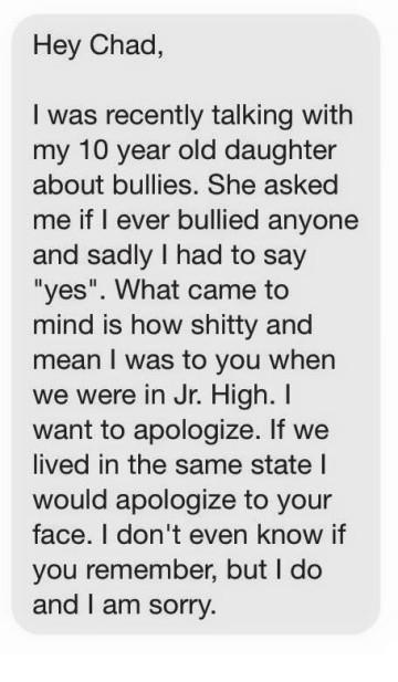 guy apologizes to gay kid he bullied in high school