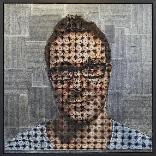 artist creates 3d portraits using nails