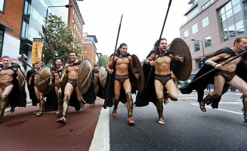 guys dress as 300 cosplay in London
