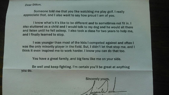tiger woods letter to boy with stutter