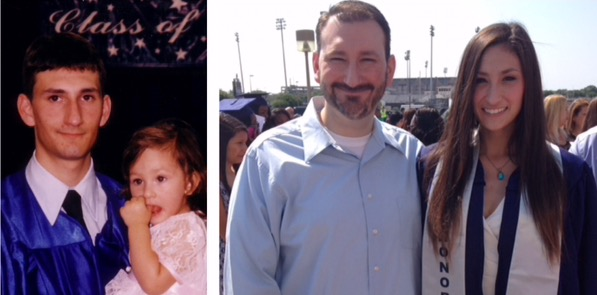dad and daughter graduation 16 years apart