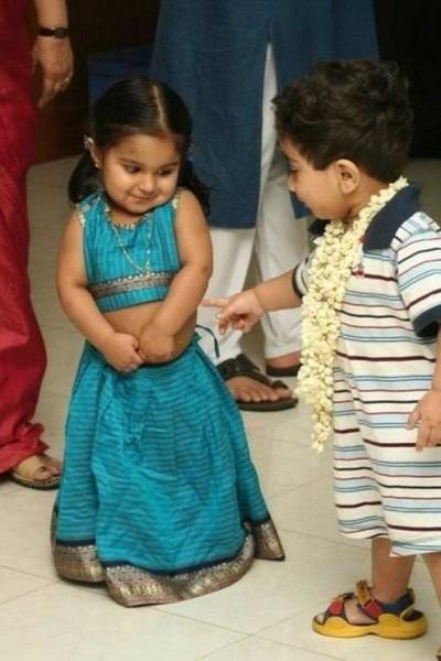 indian shy girl little boy