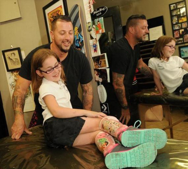 tattoo artist designs Disney leg braces