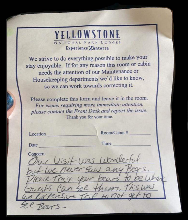 funny note left at yellowstone park about bears