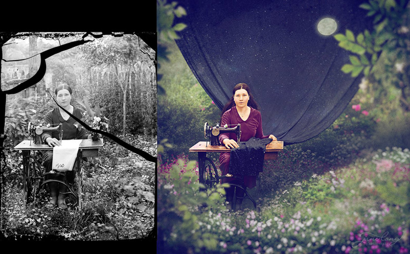 artist colorizes old photos and makes surreal