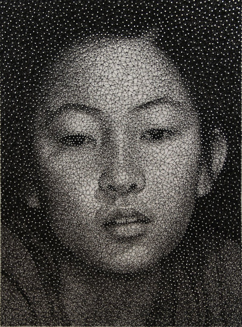 artist portrait with thread and nails
