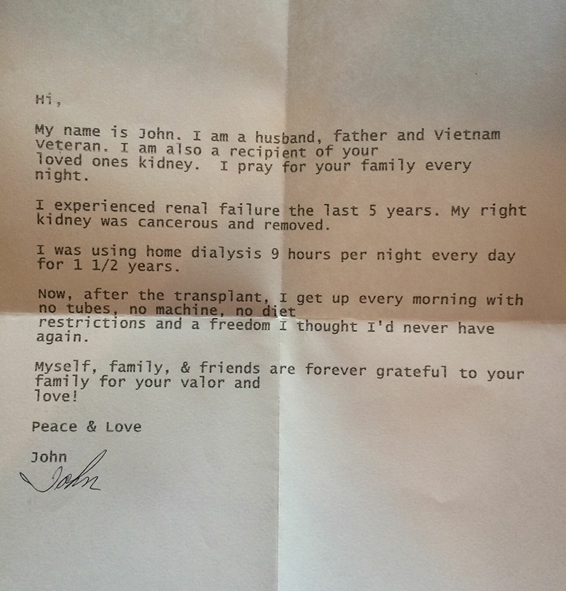 veteran letter to organ donor