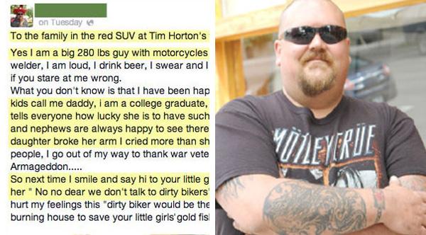biker message to mom who shamed him
