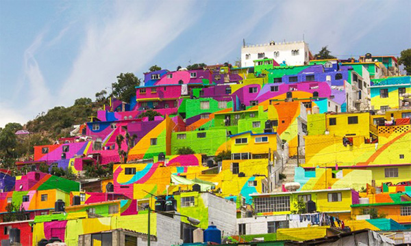 mexican village painted bright colors