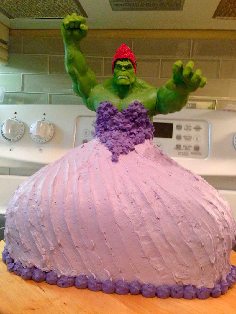 hulk princess cake