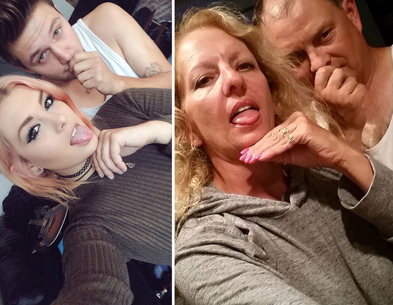 parents recreate daughters selfies with boyfriend