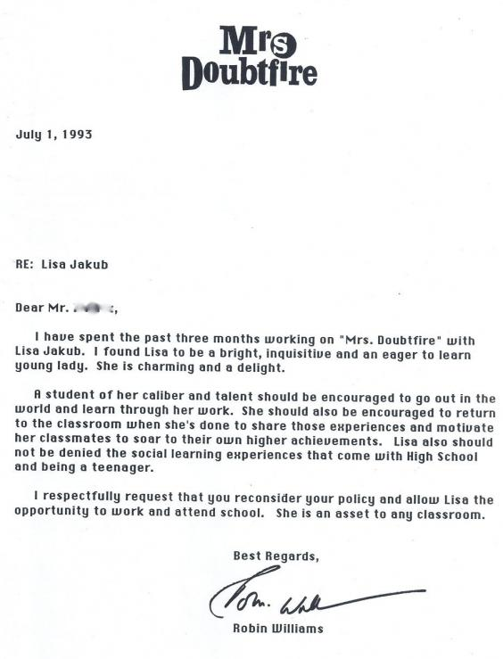 robin williams letter to high school