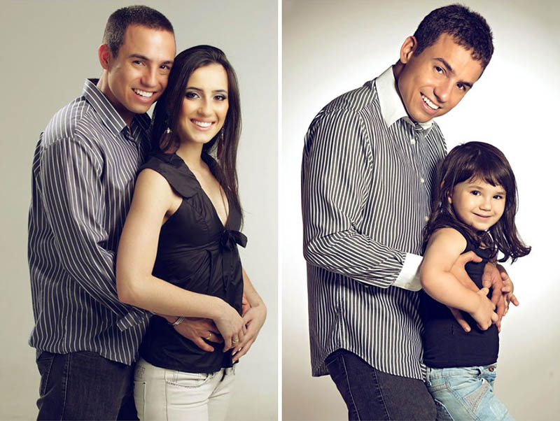 dad recreates photos of wife with daughter