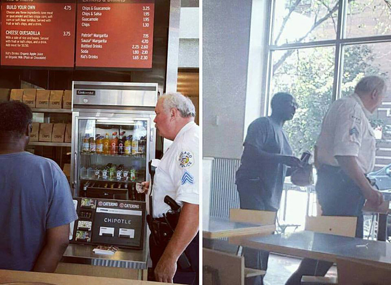 police officer buys homeless man chipotle