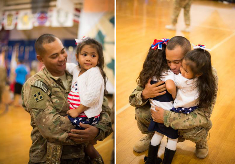 girl hugs dad during military ceremony