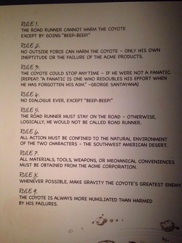 road runner coyote rules