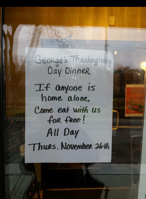 coney island free thanksgiving meal sign