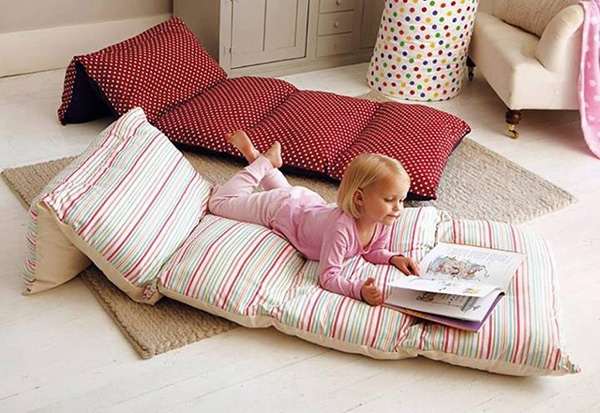 sew pillow cases together to make protable bed