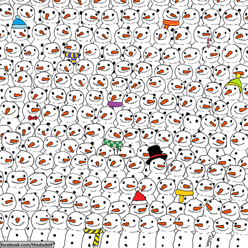find the panda in snowmen picture