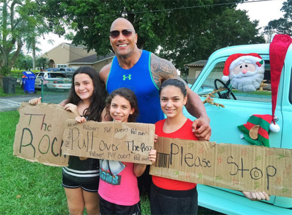 the rock pulls over for three girls