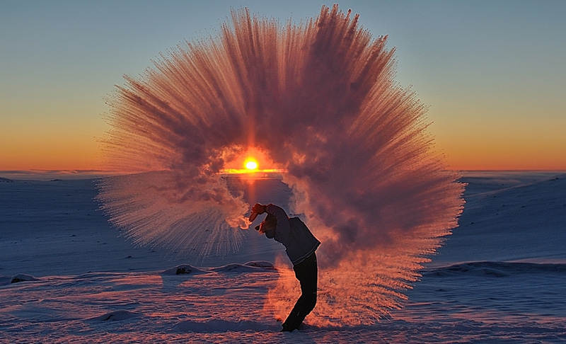 hot tea ice picture sunset
