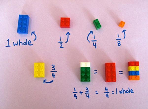 teacher uses LEGO to teach math
