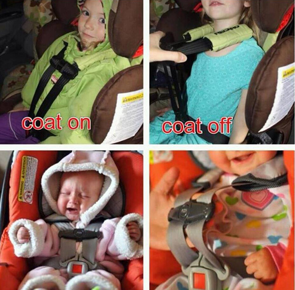 kids in car seats with coat