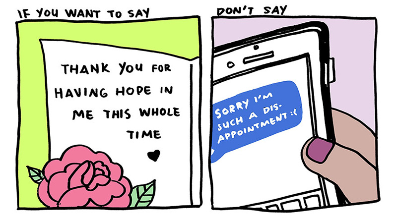 stop saying thank you with sorry