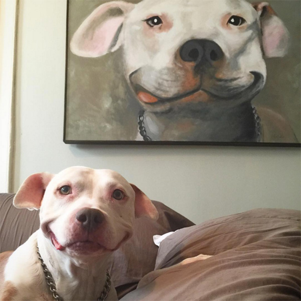 dog has the best smile with painting