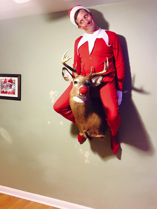 guy does real life elf on the shelf