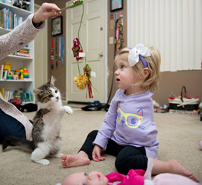 girl and kitten amputee friends
