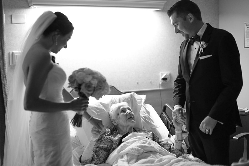 bride and groom visit grandmother in hospital