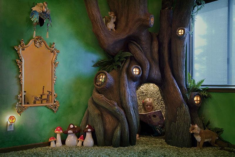 dad builds fairytale tree in daughters room