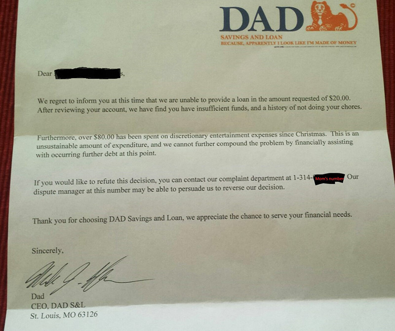 dad responds to son asking for higher allowance with letter from bank