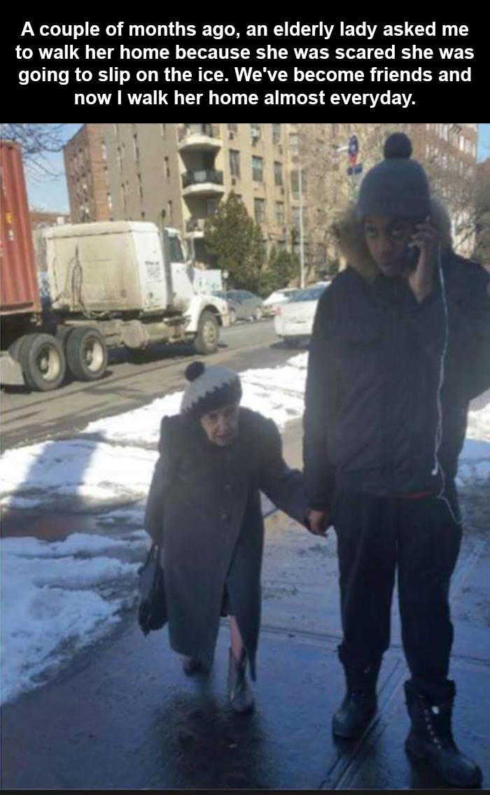 walking elderly woman home