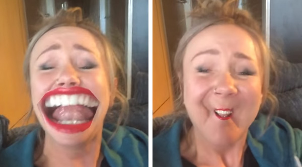 Woman Can't Stop Laughing At Herself Using Hilarious 'Face