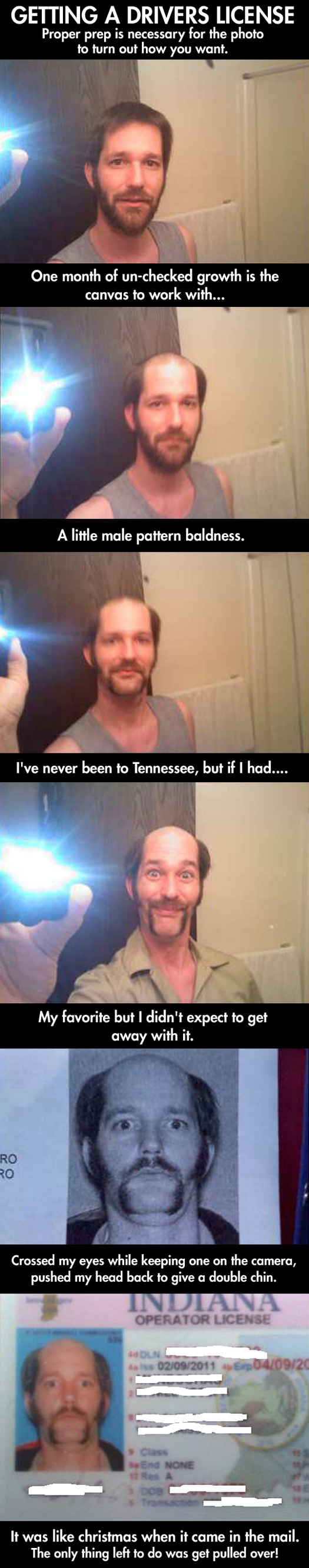 guy makes himself look funny for license picture