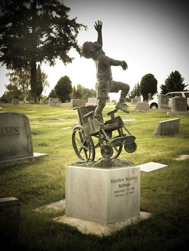 gravestone of little boy wheelchair