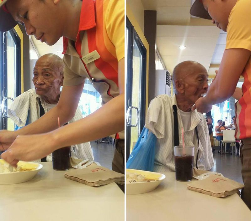 restaurant worker feeds elderly man with no arms