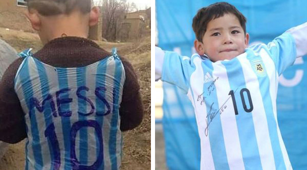 finest selection cef87 96b00 Afghan Boy In Plastic Bag Messi Jersey Finally Has His Dream ...