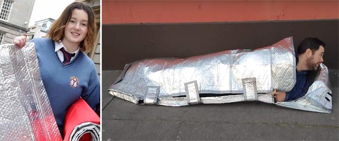 girl invents sleeping bag for homeless